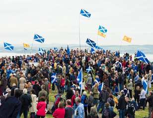 Crowd with Scot flags HOME
